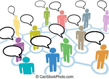 hálózat, emberek, kommunikáció, kapcsolatok, beszéd, ...