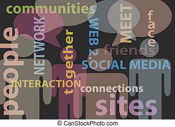 hálózat, emberek, média, kommunikáció, beszéd, társadalmi