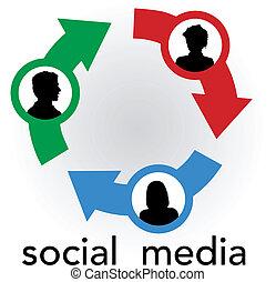 hálózat, emberek, média, nyílvesszö, összekapcsol, társadalmi