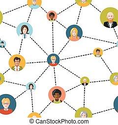 hálózat, emberek, motívum, seamless, avatars, háttér, társadalmi, fehér