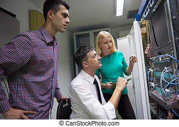 hálózat, engeneers, szoba, dolgozó, ministráns