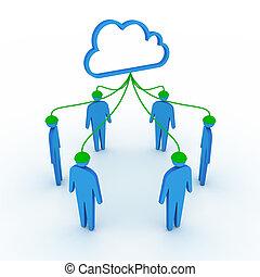 hálózat, felhő, társadalmi