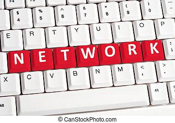 hálózat, szó, képben látható, billentyűzet