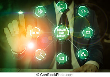 hálózat, szöveg, aláír, tervez, kiállítás, folyamat, technológia, safety., baleset, rendszer, megakadályoz, egészség, fénykép, intended, furfangos, modern, workplace, fogalmi, film, device.