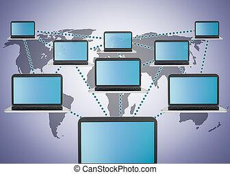 hálózat, társadalmi, média, marketing, laptop