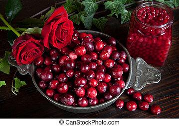 hálaadás, bogyók, és, agancsrózsák