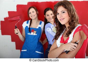 hármas, közül, alkalmas, lány, festmény, szoba, piros