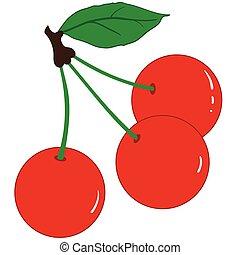 három, érett, cseresznye
