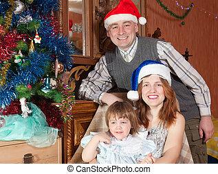 három, család christmas, boldog, fa