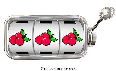 három, cseresznye, egymásra következő, képben látható, horony gép, tol, tárcsa, nagy, főnyeremény, winnings