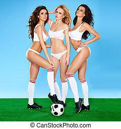 három, gyönyörű, szexi, nők, futball játékos