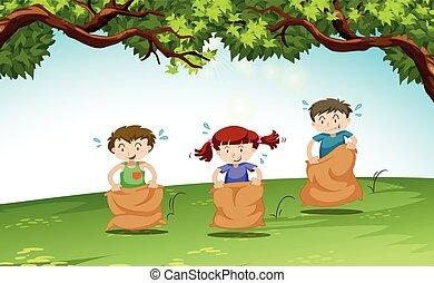 három, gyerekek, játék, a parkban
