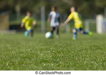 három, gyerekek, játék futball