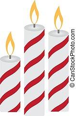 három, karácsony, égető, gyertya, képben látható, egy, fehér, háttér., vektor, ábra