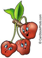 három, mosolygós, cseresznye