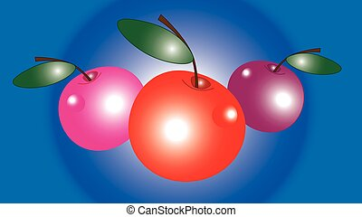 három, nagy, cseresznye, glare.