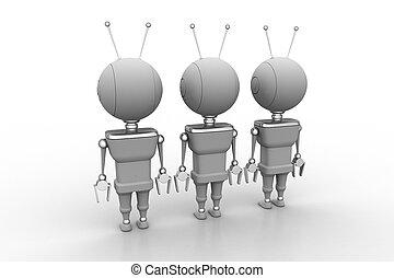 három, robotok