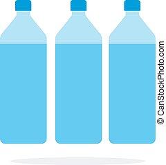 három, víz, lakás, elszigetelt, palack