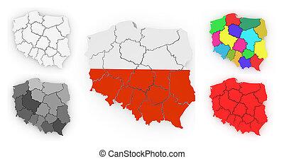 háromkiterjedésű, térkép, közül, lengyelország