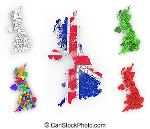 háromkiterjedésű, térkép, közül, nagy-britannia