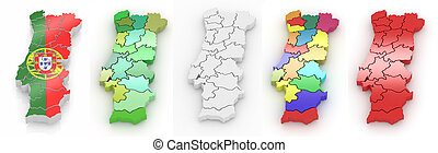 háromkiterjedésű, térkép, közül, portugália, white, elszigetelt, háttér., 3