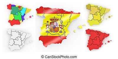háromkiterjedésű, térkép, közül, spanyolország