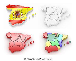 háromkiterjedésű, térkép, közül, spanyolország, white, elszigetelt, háttér