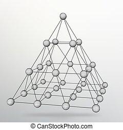 háromszög, elvont, eps10., ábra, geometrikus, háttér., vektor, pyramid., 3