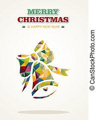 háromszög, köszönés, kortárs, vidám christmas, kártya