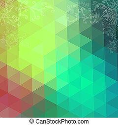 háromszög, színes, banner., motívum, shapes., text., csípőre szabott, retro, háttér, állás, geometriai, -e, mózesi