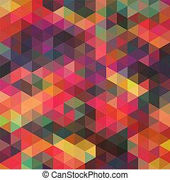 háromszögek, motívum, közül, geometriai, shapes., színes,...