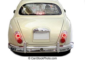 hát, autó, nyersgyapjúszínű bezs, részletez, klasszikus