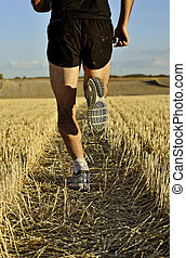 hát, combok, cipők, ország, kereszt, feláll, futás, kilátás, ember, becsuk, sport, kilátás