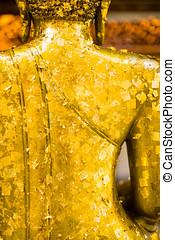 hát, közül, arany-, buddha, szobor