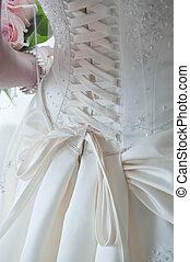 hát, közül, esküvő öltözködik