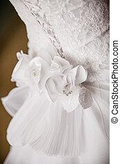 hát, közül, menyasszony esküvő öltözködik