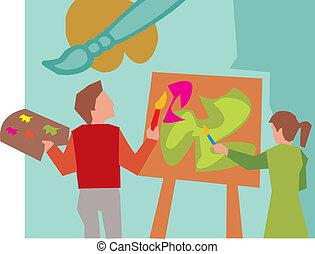 hátsó kilátás, közül, diákok, festmény, alatt, rajzóra osztály