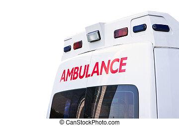 hátsó kilátás, közül, egy, szükséghelyzet, mentőautó