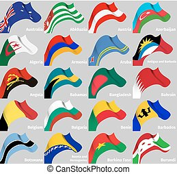 háttér, állhatatos, noha, világ, hullámos, zászlók