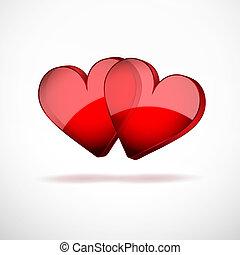 háttér, 2 szív, boldog, valentines nap