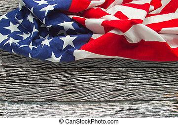 háttér, amerikai, fából való, lobogó
