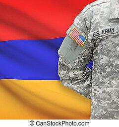 háttér, -, amerikai, katona, lobogó, örményország