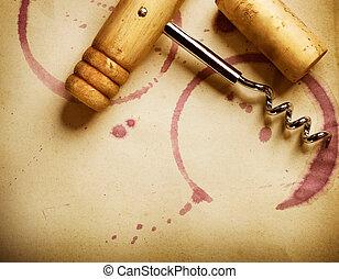háttér., bepiszkol, szüret, bedugaszol, dolgozat, dugóhúzó, vörös bor
