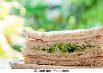 háttér., bokeh, szendvics, zöld, sonka