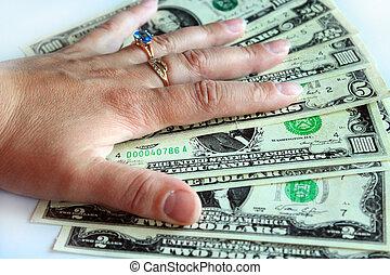 háttér, dollárok, elszigetelt, bennünket, kezezés kitart, fehér
