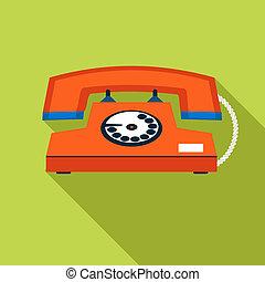 háttér elpirul, szüret, jelkép, telefon, ábra, vektor, tervezés, retro, sablon, kommunikáció, elegáns, ikon
