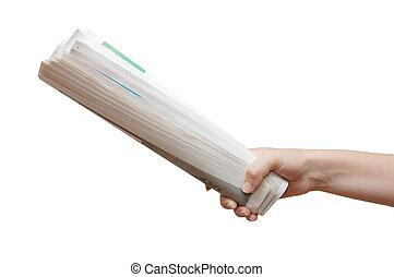 háttér, elszigetelt, kezezés kitart, újság, fehér