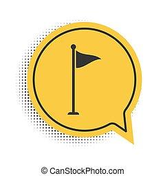 háttér., elszigetelt, vektor, felszerelés, jelkép., beszéd, sárga, fekete, accessory., ikon, buborék, golf, white lobogó, vagy