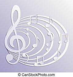 háttér, elvont, vektor, zenés, ábra