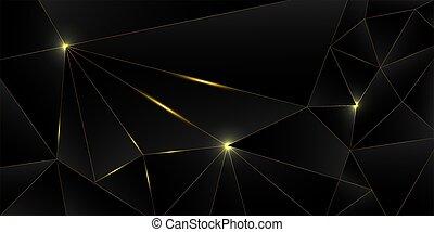 háttér., ezüst, fekete, 3, arany, arany-, poly, tervezés, fényűzés, alacsony